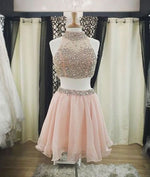 Cute two pieces sequin short prom dress, cute pink homecoming dress