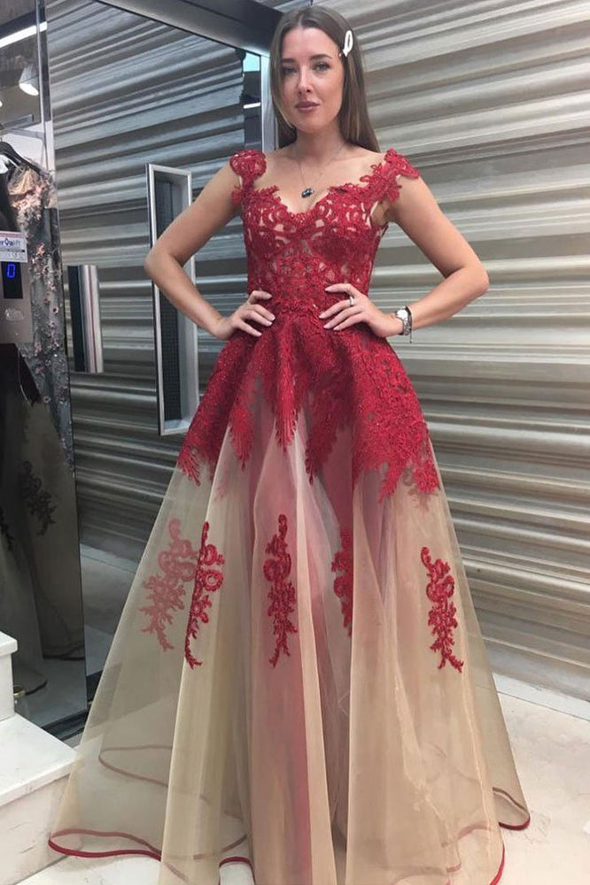 Unique A-line tulle lace long prom dress red lace formal dress