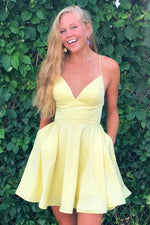 Simple yellow v neck satin short prom dress yellow homecoming dress