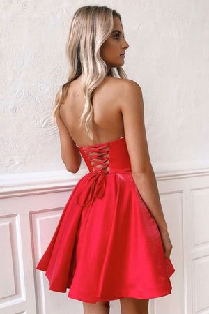 Simple sweetheart red satin short prom dress red homecoming dress