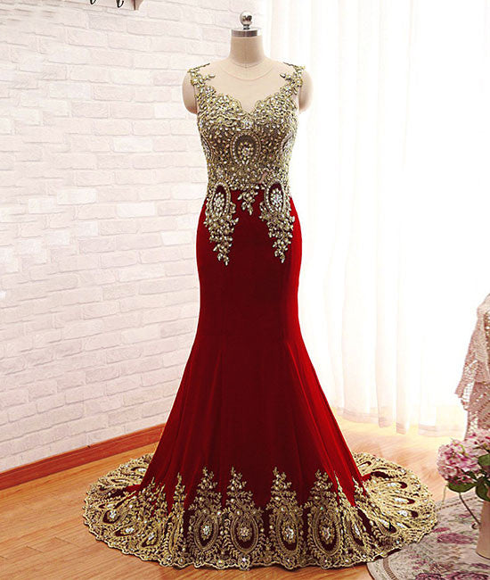Burgundy chiffon lace applique long prom dress, burgundy evening dress - shdress