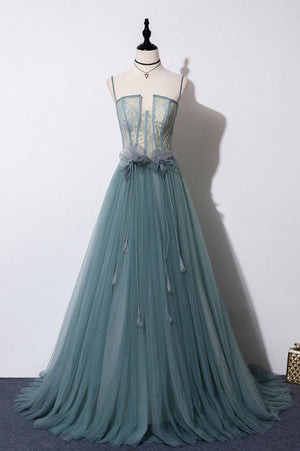 Green sweetheart tulle lace long prom dress green formal dress