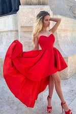 Red sweetheart high low prom dress, red homecoming dress