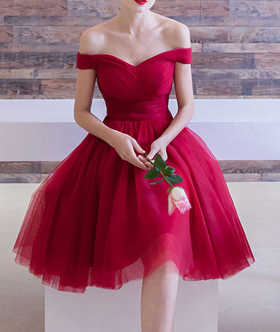 Burgundy off shoulder short prom dress, burgundy homecoming - shdress