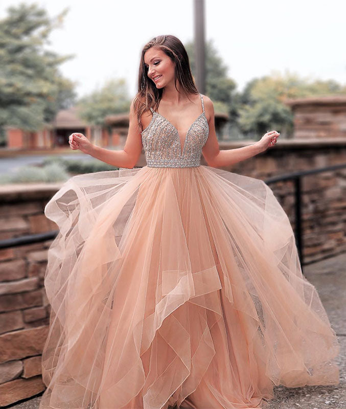 Champagne sweetheart tulle sequin long prom dress, evening dress - shdress