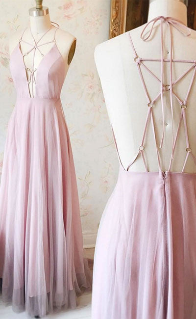 Unique Pink v neck long prom dress, pink evening dress - shdress