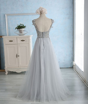 Gray sweetheart lace tulle long prom dress, gray bridesmaid dress - shdress