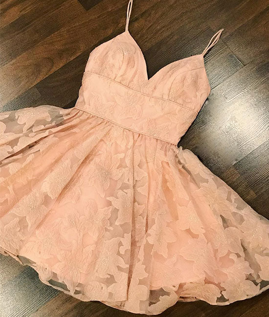 Pink sweetheart lace short prom dress, pink homecoming dress - shdress