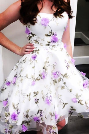 White tulle purple flower short prom dress cocktail dress