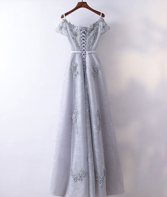 Gray v neck tulle lace applique long prom dress, lace evening dress - shdress