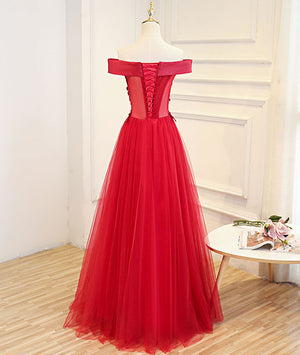 Simple red tulle lace applique long prom dress, red evening dress - shdress
