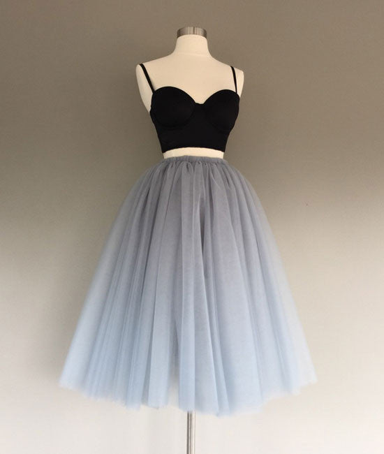 Gray tulle two pieces short prom dresses, cute homecoming dress