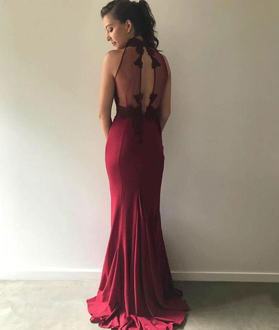 Unique burgundy lace long mermaid long prom dress, burgundy bridesmaid dress - shdress