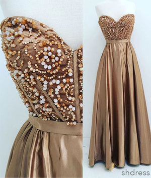 Gold sweetheart neck beaded long prom dress, evening dress - shdress