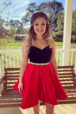 Cute sweetheart red short prom dress, red homecoming dress