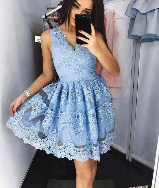 Cute blue lace short prom dress, blue lace homecoming dress
