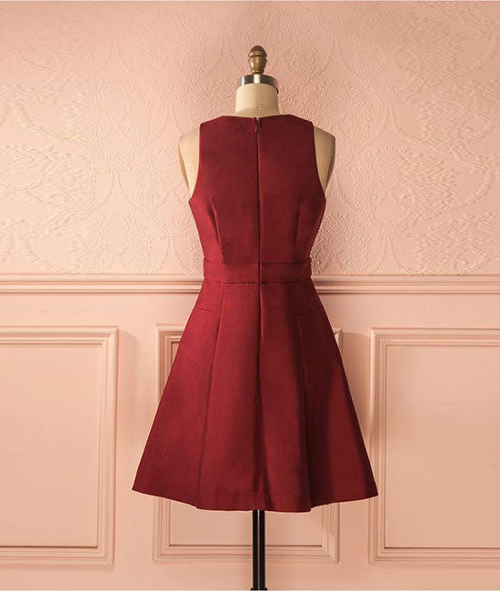 Cute burgundy short prom dress, simple homecoming dress - shdress