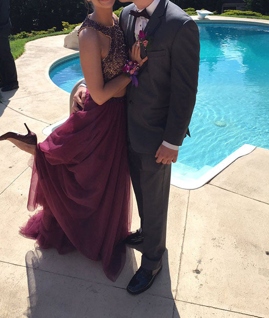 Burgundy two pieces sequin long prom dress, evening dress - shdress