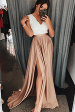 Champagne lace long prom dress champagne lace evening dress