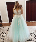 Green v neck lace tulle long prom dress, green tulle evening dress