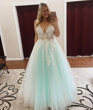 Green v neck lace tulle long prom dress, green tulle evening dress - shdress
