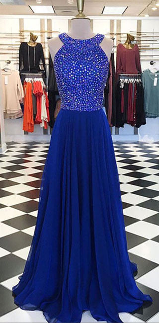 Royal blue round neck long prom dress, blue evening dress