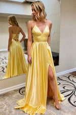 Yellow simple satin long prom dress yellow formal dress