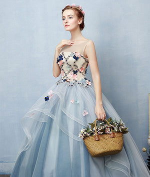 Unique round neck tulle applique long prom dress, blue evening dress - shdress