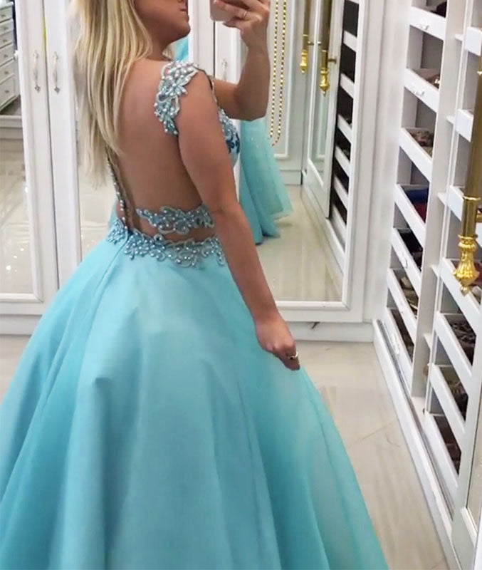 Blue sweetheart two pieces long prom dress, blue evening dress - shdress