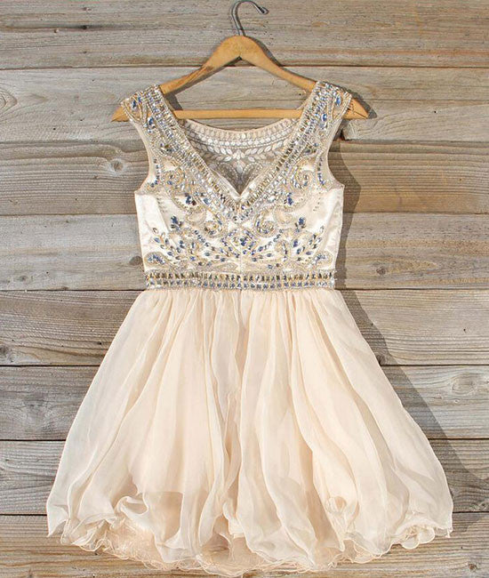 Cute round neck bead apricot short prom dress, homecoming dress - shdress