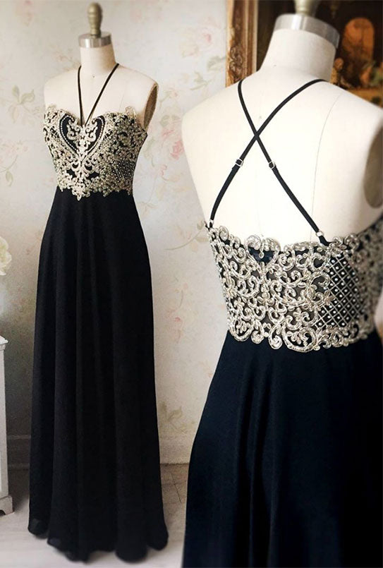 Black chiffon lace long prom dress, black evening dress