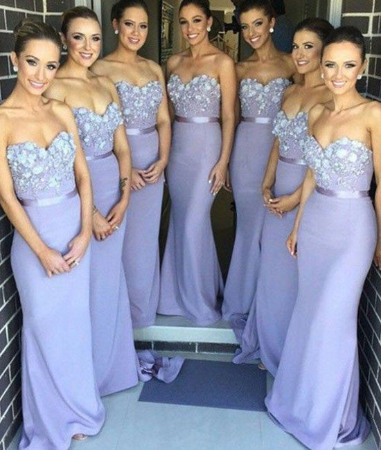 light purple sweetheart neck lace mermaid long prom dress, bridesmaid dress - shdress