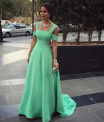 Simple A-line Green Long Prom Dresses, Bridesmaid Dresses