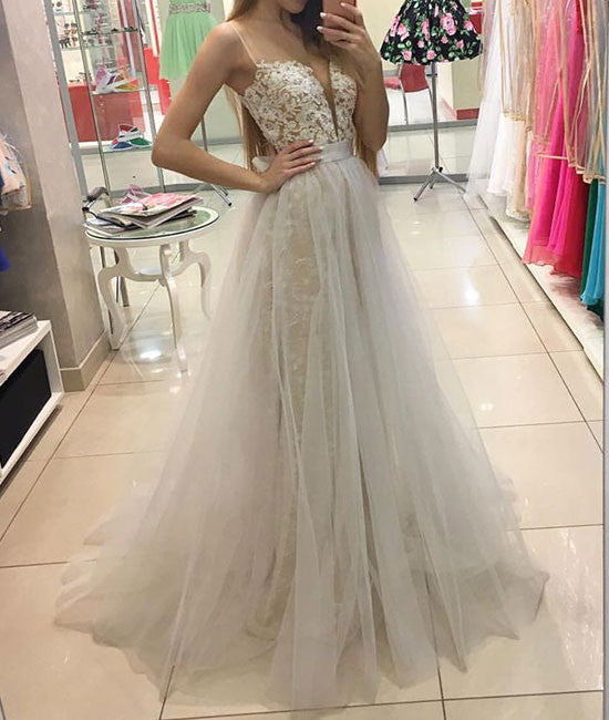 White sweetheart lace tulle long prom dress, white evening dress - shdress