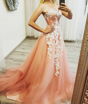 Pink sweetheart neck tulle lace applique long prom dress, evening dress - shdress