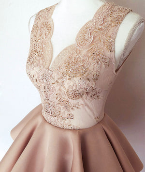 Champagne lace satin short prom dress, lace homecoming dress - shdress