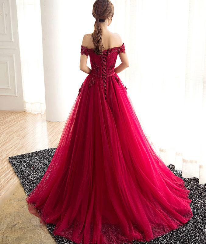 Burgundy tulle lace long prom dress, burgundy tulle evening dress - shdress