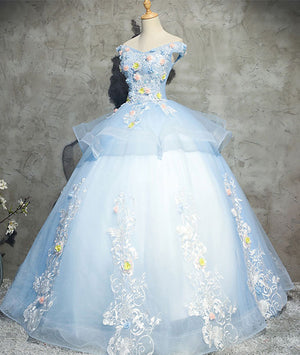 Blue tulle lace applique long prom gown, blue evening dress - shdress