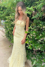 Yellow tulle lace backless long evening dress, yellow prom dress