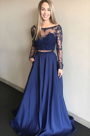 Blue two pieces lace long prom dress, blue bridesmaid dress