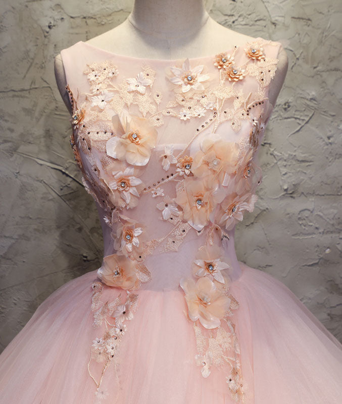 Pink round neck tulle lace applique long prom dress, pink evening dress - shdress