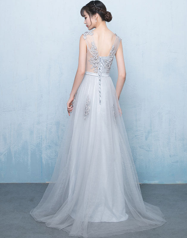 Gray v neck tulle lace applique long prom dress, gray bridesmaid dress - shdress