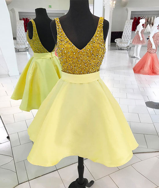 Yellow v neck sequin short prom dress, homecoming dress