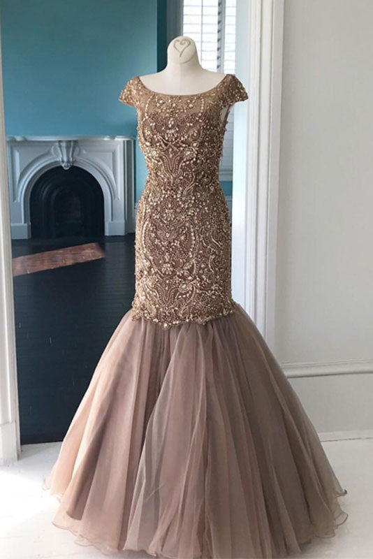 Unique round neck tulle sequin beads mermaid long prom dress, champagne evening dress - shdress
