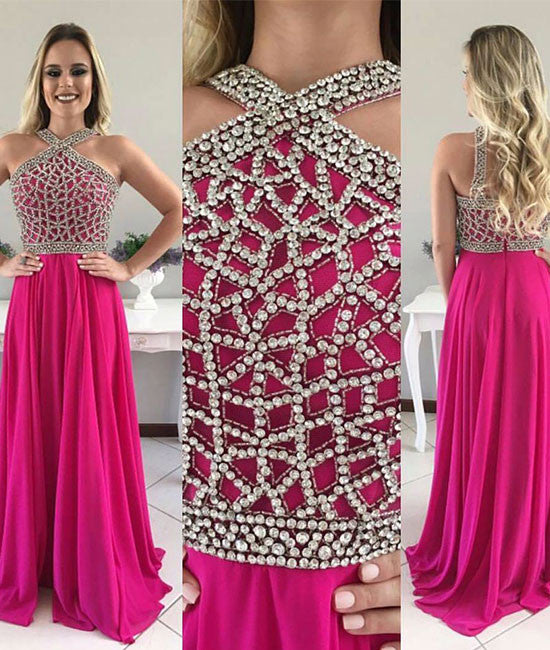 Elegant beaded chiffon long prom dress, evening dress for teens