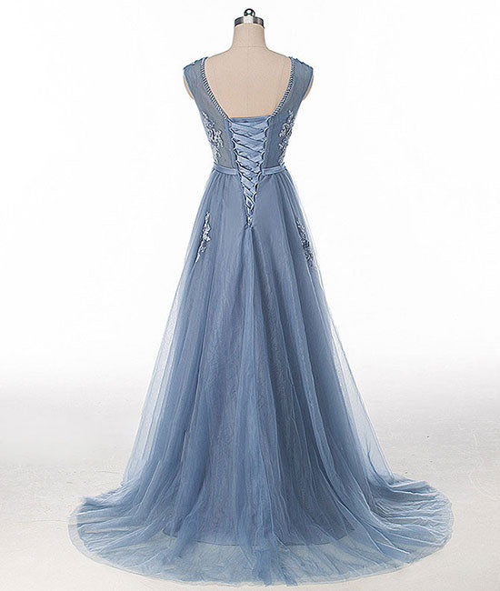 Blue round neck tulle lace applique long prom dress, blue evening dress - shdress