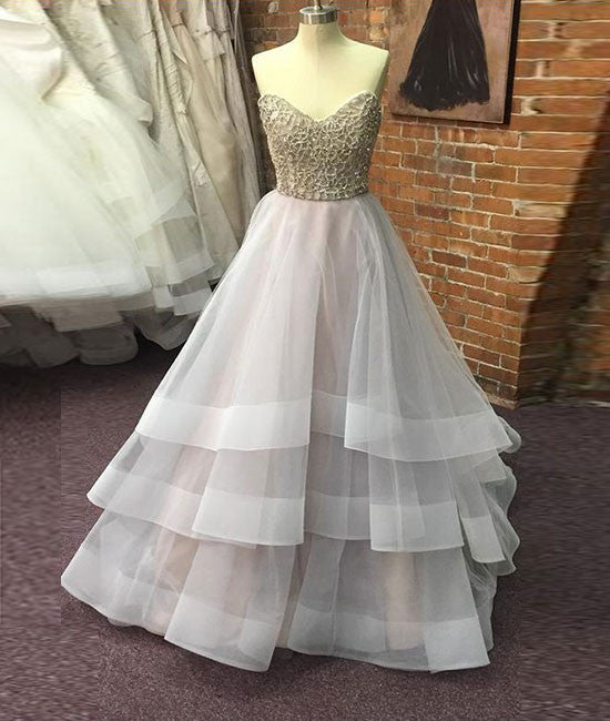 Unique sequin gray tulle prom dress, long gray evening dress - shdress