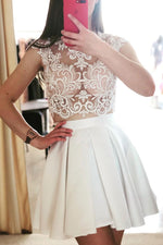 Cute white two pieces lace short prom dress, white homecoming dress