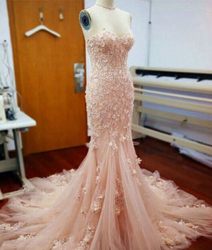 Pink sweetheart neck tulle mermaid long prom dress, wedding dress - shdress