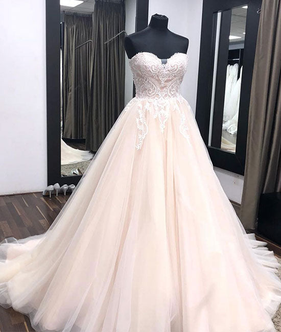 Unique sweetheart neck tulle lace applique long wedding dress, lace bridal dress